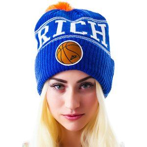 NWT Joyrich Basketball Logo Beanie - Blue/Orange